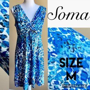 Soma Blue Animal Print Soft Twisted Dress Size M